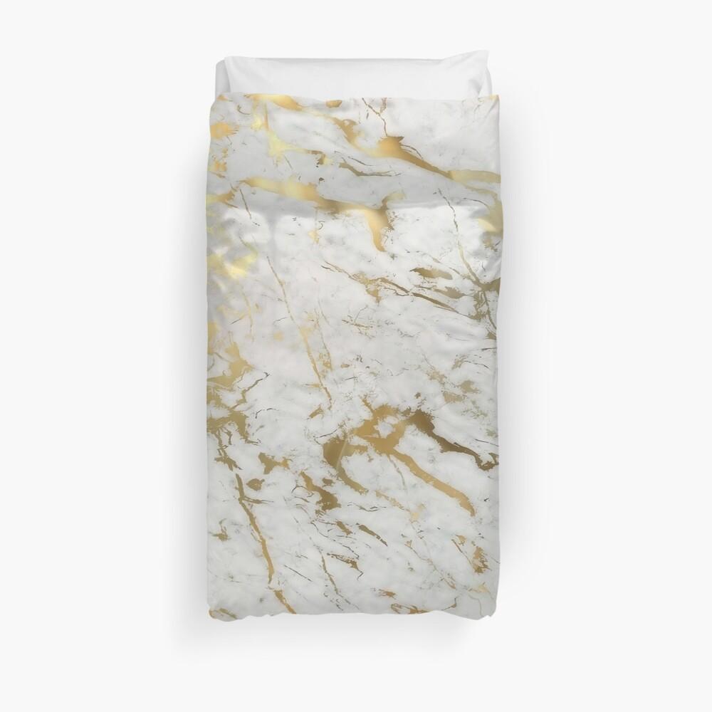 Mármol dorado sobre blanco (impresión de calidad de altura original) Funda nórdica