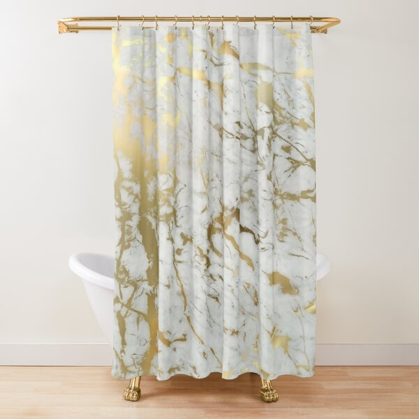 Gold marble on white (original height quality print) Shower Curtain