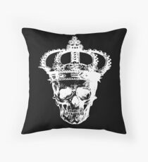 Skull With Crown. Halloween, Everyday Wear. Throw Pillow
