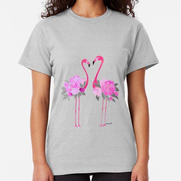DREI FLAMINGOS Damen T-Shirt Phoenicopteridae Pink 80er Party Flamingo Rosa