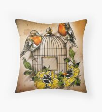 Aves in Jaula Throw Pillow