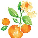 Fresh Oranges Watercolor Design with Green Leaves by JessicaFDesign