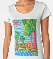 Mid Century Landscape Women's Premium T-Shirt