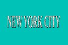 New York City (white type on aqua) by Ray Warren