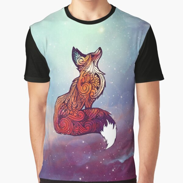 Fox Geometric Chest Print Tshirt Long Sleeve Animal Art Graphic Nature Design