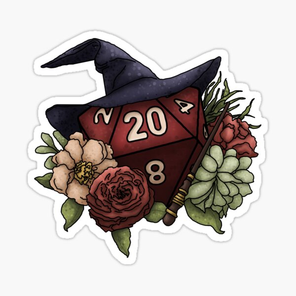 Wizard Class D20 - Tabletop Gaming Dice Sticker