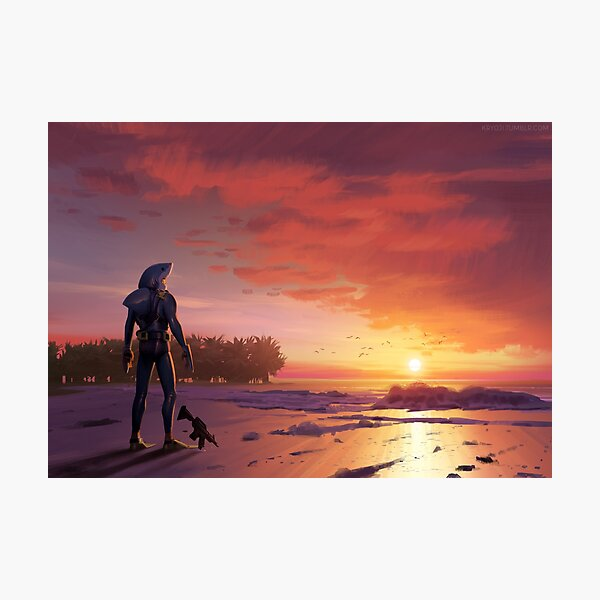 Chomp Sr. Staring Wistfully into the Sunset Photographic Print
