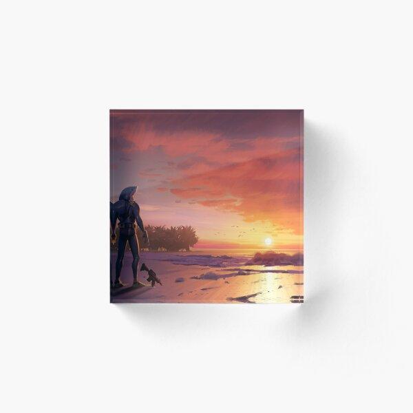 Chomp Sr. Staring Wistfully into the Sunset Acrylic Block