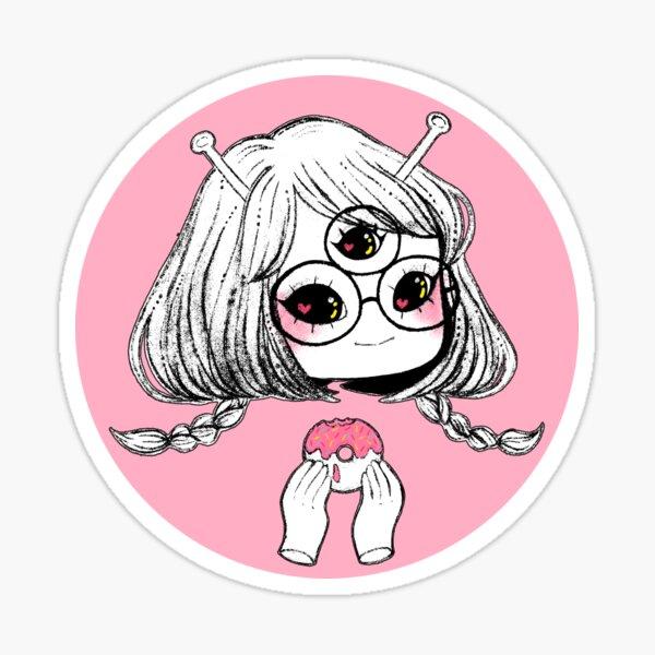 Alien Girl Foodie Sticker
