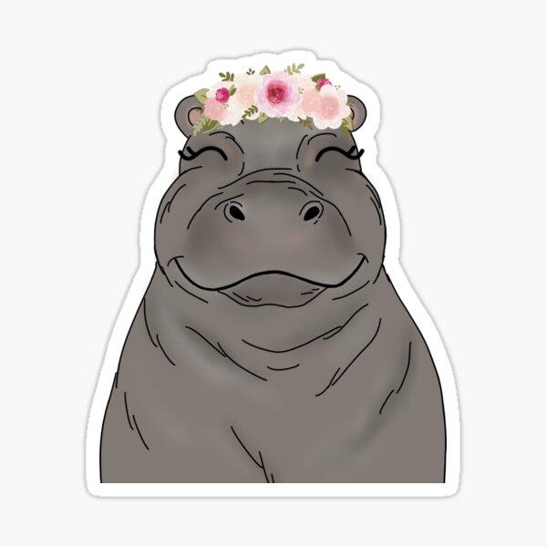 Floral Crown Hippo Sticker