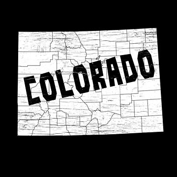 Colorado Home Vintage Distressed Map Silhouette by YLGraphics