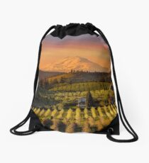 Golden sunset over Mt Adams and Hood River Valley pear orchards at sunset springtime Drawstring Bag