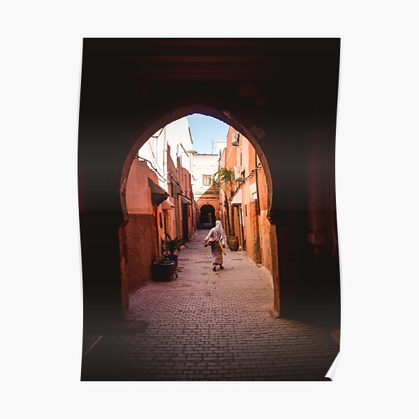 Woman with groceries in Marrakesh Poster