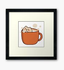 Cute Cat in a Cup Of Tea Framed Print