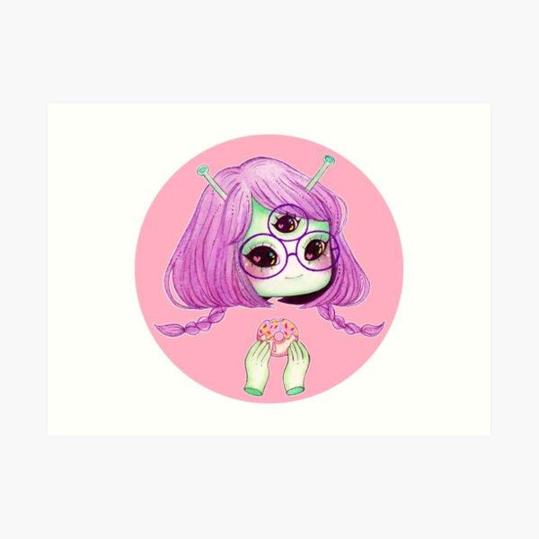 Foodie Alien Girl Art Print