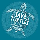 Save Turtles - Boho, BohemianSilhouette Words - White by jitterfly