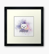 PINK PURPLE SPACE CAT CUTE MEOW Framed Print