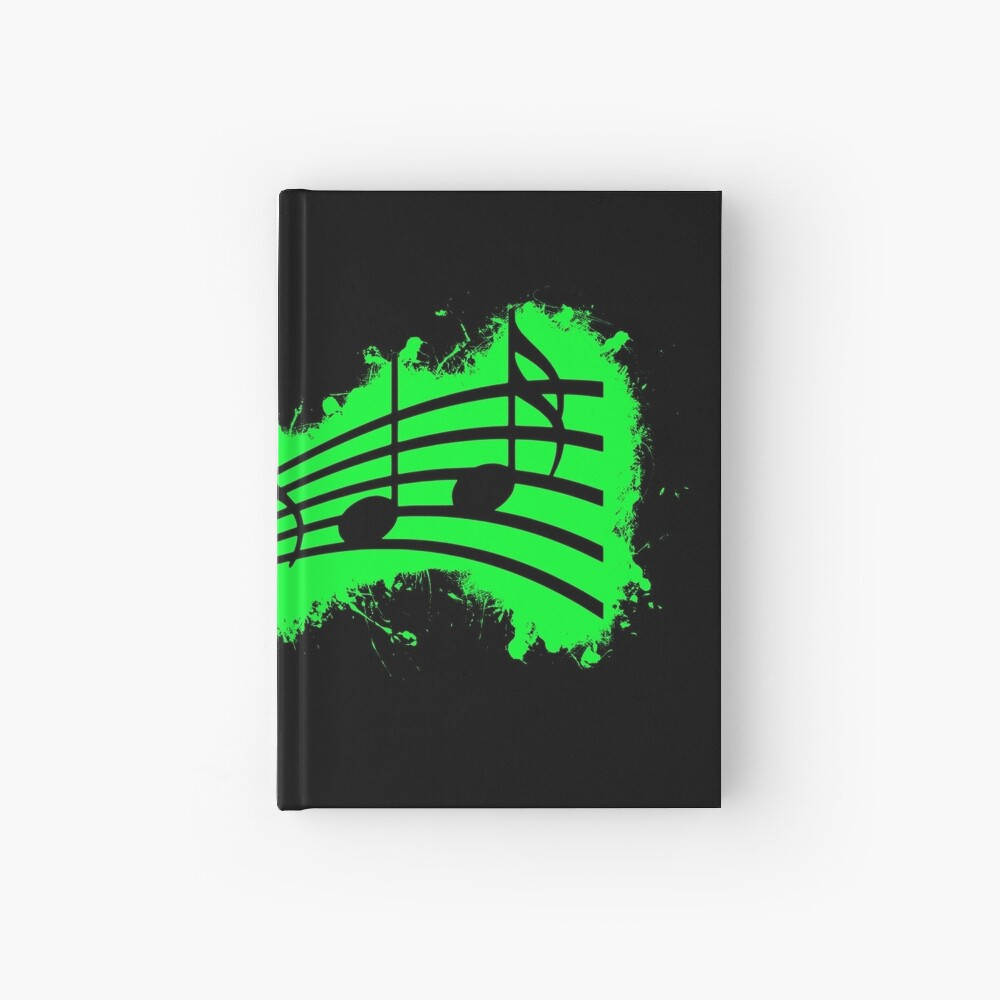 Silhouette musical green and black silhouette Cuaderno de tapa dura