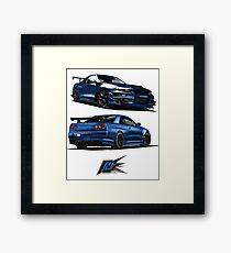 nissan gtr r34 front blue color front back Framed Print