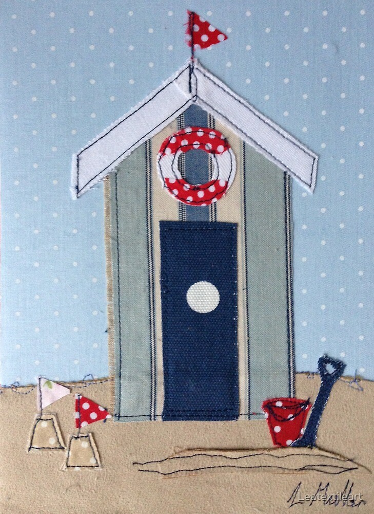 Stripy Beach Hut with sand castles by Leatextileart