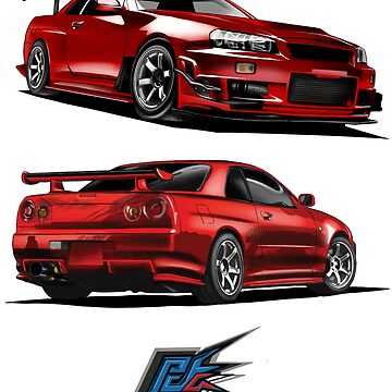 nissan gtr r34 front back red color by naquash