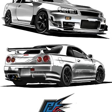 nissan gtr r34 front back white color by naquash