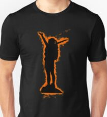 Silhouette climbing orange and black silhouette Unisex T-Shirt