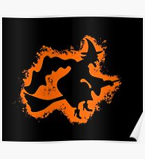 Witch cape orange and black silhouette Poster