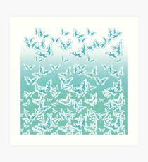 blue butterflies in the sky Art Print