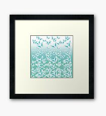 blue butterflies in the sky Framed Print