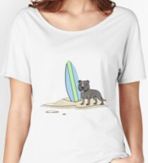 Surfing Staffy - Grey Women's Relaxed Fit T-Shirt