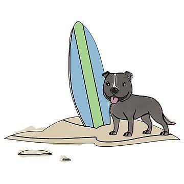 Surfing Staffy - Grey by ErinJain