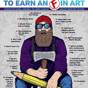 """20 ways to earn an 'F' in Art"" - Educational Infographic Design - Generic version by Fragoutdesign"