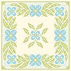 CROSS-STITCH FLORAL, green and blue by Slanapotam