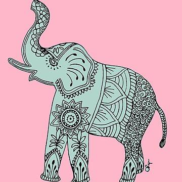 Elefante doodled en menta y rosa. de Arepax68