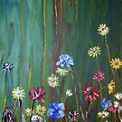 Flowers on Green, painting by Vic Potter by Vic Potter