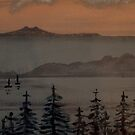 Rangitoto, painting by Vic Potter by Vic Potter