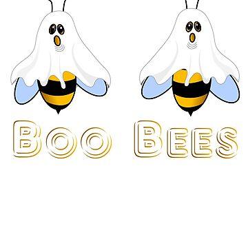 Boo Bees Funny Womens Halloween Joke Ghost Bee Humor by bev100