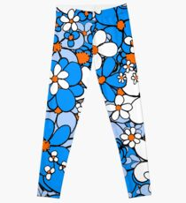 Floral -- Blue and White Leggings