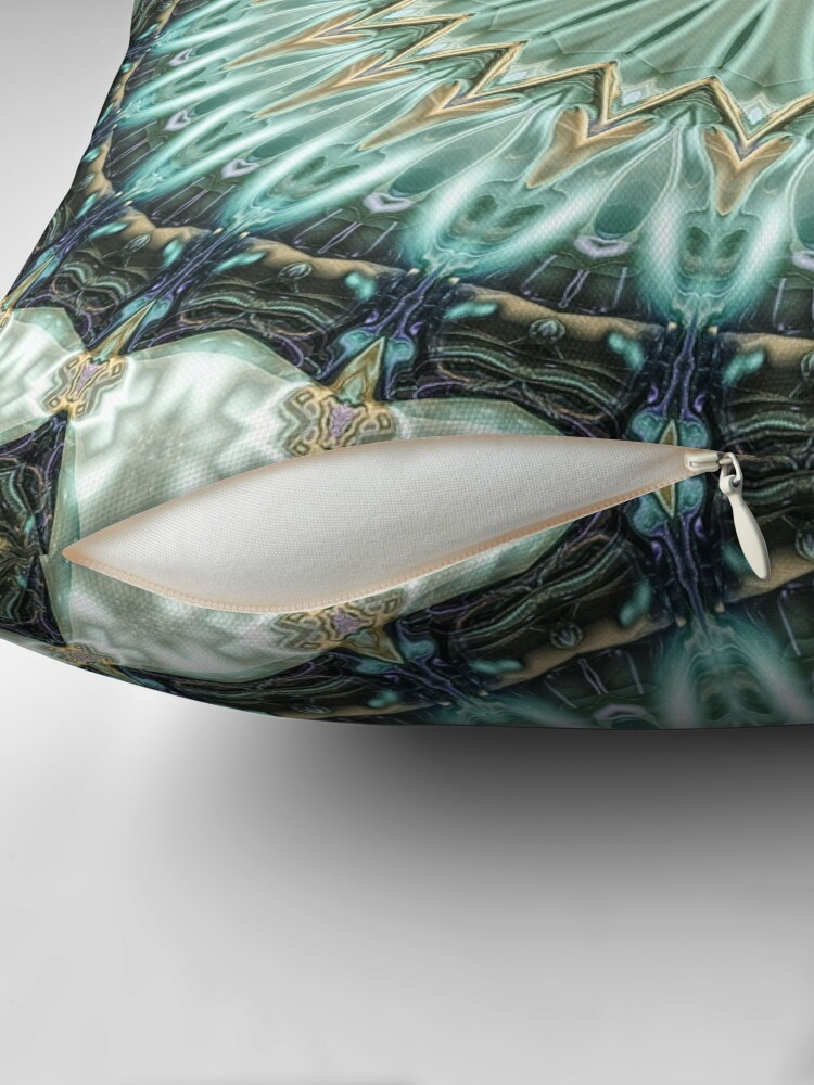 Alternate view of Green And Gold Mandala Throw Pillow