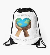 Change The World Drawstring Bag