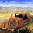 Antque Car That Didn't make it to Burns or Bend Oregon Watercolor by Chriss Pagani