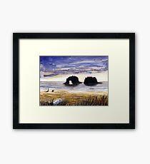 Twin Rocks, Rockaway Beach Oregon Watercolor Sketch Framed Print