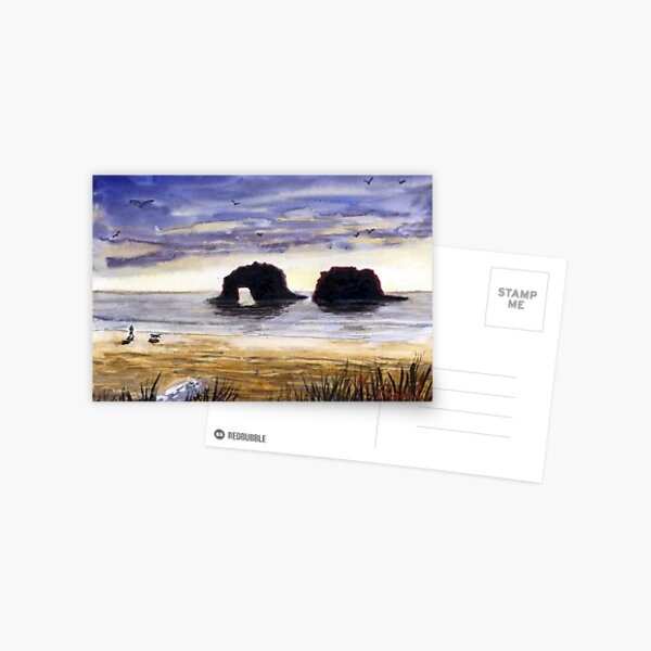Twin Rocks, Rockaway Beach Oregon Watercolor Sketch Postcard
