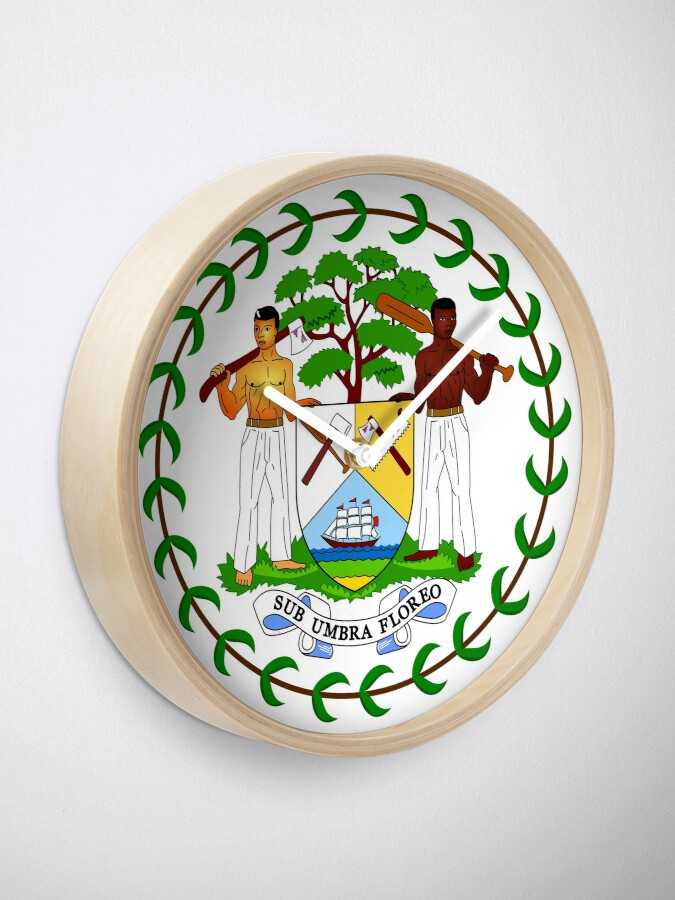 Alternate view of Coat of arms of Belize Clock