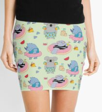 Beach animals - green Mini Skirt