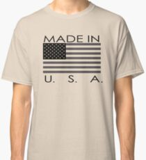 Made in USA with American flag funny and lovely Classic T-Shirt