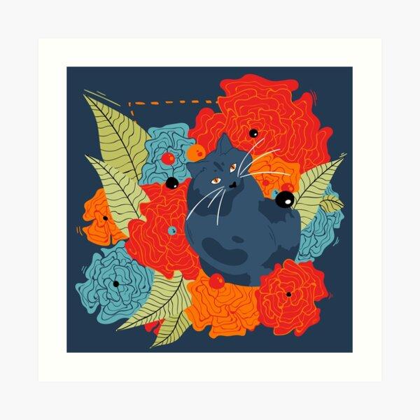 Floral Kitty Art Print