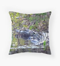Swimming With the Gator Throw Pillow