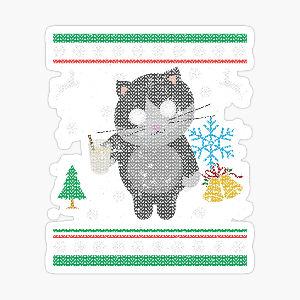 Eggnog Kitty Cat Ugly Christmas Sweater Shirt Cat Lover